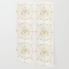 All-Seeing Eye Mandala – Gold Palette Wallpaper