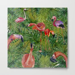 Aloha- Flamingo Bird Jungle Metal Print