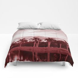 Reflections of Palm Trees (Red) Comforters