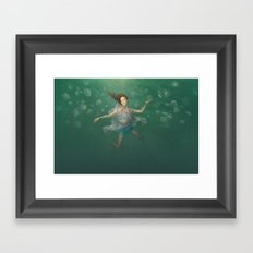 Dancing With Jellyfish Framed Art Print