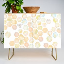 Bee and honeycomb watercolor Credenza