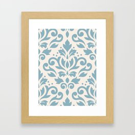 Scroll Damask Large Pattern Blue on Cream Framed Art Print