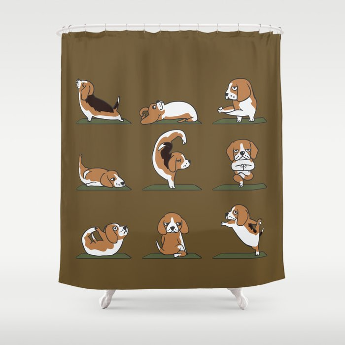 Beagle Yoga Shower Curtain By Huebucket