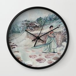 Korean Winter (Watercolor painting) Wall Clock