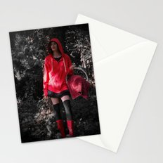 red in the hoodie Stationery Cards