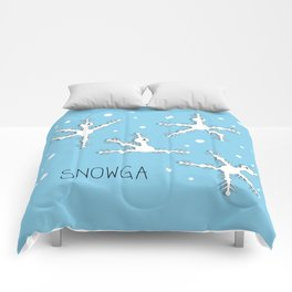 Yoga comic draw with snowflakes doing asanas Comforters