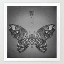 Faces Butterfly 2 Art Print