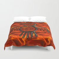 native american Duvet Covers featuring Flight 2 Native American by BohemianBound