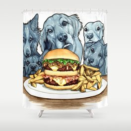 Burger Dogs Shower Curtain