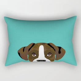 Boxer brindle coat dog breed pet portrait dog head peeking cute dog gifts for boxers Rectangular Pillow