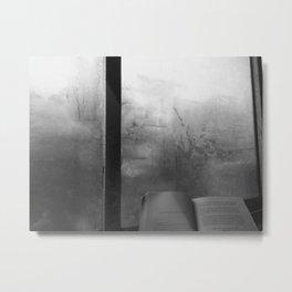 book and b/w Metal Print
