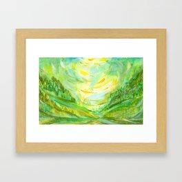 Summer background in green color Framed Art Print