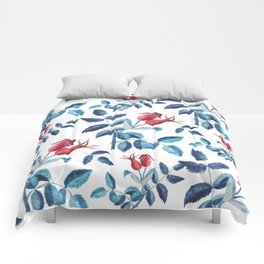 Watercolor Rose Hips Comforters