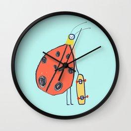 Ladybird Skateboarder by Ashley Percival. Wall Clock