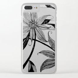 garden in black and white Clear iPhone Case