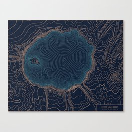Crater Lake Topo Canvas Print