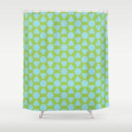 Green-Blue Freeman Lattice Shower Curtain