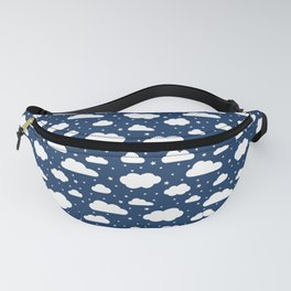 Night Sky, Fluffy White Clouds and Stars on navy - pattern Fanny Pack