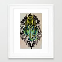 ganesha Framed Art Prints featuring Ganesha  by Nila Frederiksen