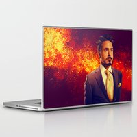 tony stark Laptop & iPad Skins featuring Tony Stark - Iron Man by KanaHyde