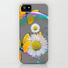 YELLOW BUTTERFLIES  DAISIES & SOAP BUBBLES GREY COLOR iPhone Case
