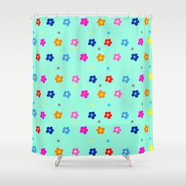 Flower Pattern on light Green Background Shower Curtain