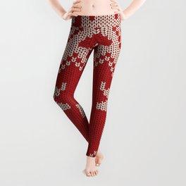 Christmas pattern knitting handmade scandinavian iIllustration with reindeer and heart Leggings