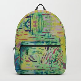 Peaceful Green Geometric Pattern Watercolor Tapestry Backpack