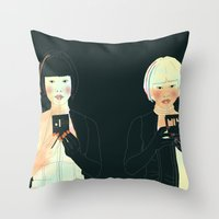 atlas Throw Pillows featuring CLOUD ATLAS by Itxaso Beistegui Illustrations