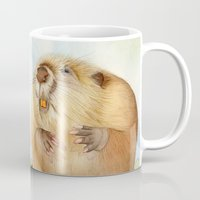 beaver Mugs featuring Mouse & Beaver by Patrizia Donaera ILLUSTRATIONS