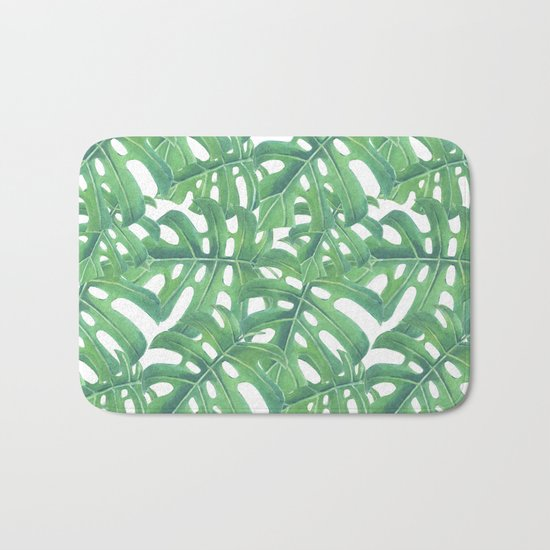 Green monstera tropical leaves pattern  on white background Bath Mat