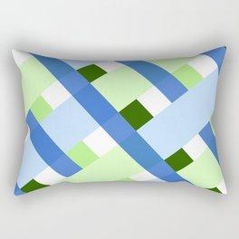 Green And Blue Lines Pattern Rectangular Pillow