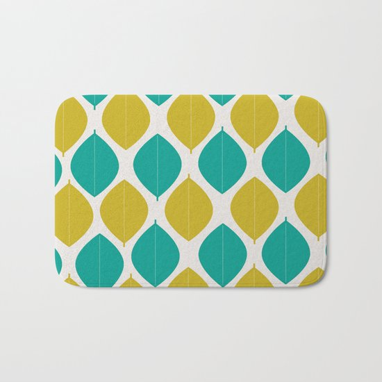 TEAL AND GREEN LEAVES Bath Mat