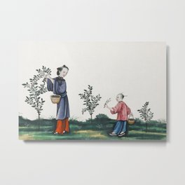 Chinese painting illustrating a mother and a son plucking tea sprouts (ca1800-1899) from the Miriam Metal Print