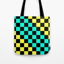 Black, Aqua, & Yellow Checkerboard Pattern Tote Bag