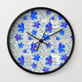 Blue bototillo flower over roman stucco wall Wall Clock