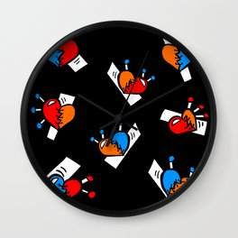 Hearts with Stitches - Blue Red Orange - Black Wall Clock