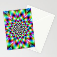 Neon Flower in Green Red and Blue Stationery Cards