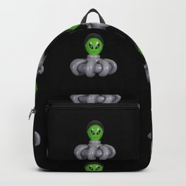Green Balloon Animal Alien in Gray Spaceship on Black Backpack