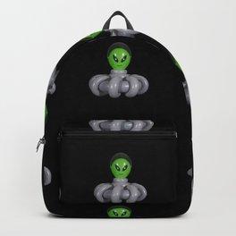 Green Balloon Animal Alien in Gray Spaceship on Black Backpack