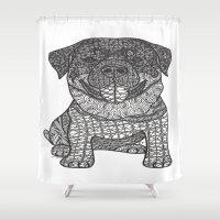 rottweiler Shower Curtains featuring Courageous- Rottweiler by DiAnne Ferrer