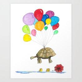 Mr Tortoise with Balloons Art Print
