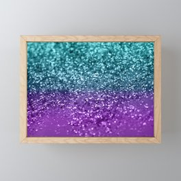 Purple Teal MERMAID Girls Glitter #1 #shiny #decor #art #society6 Framed Mini Art Print