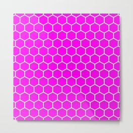 Honeycomb (White & Magenta Pattern) Metal Print