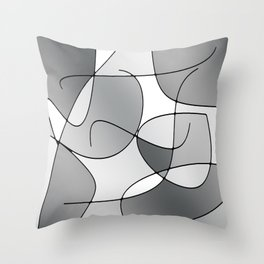 ABSTRACT CURVES #1 (Grays & White) Throw Pillow