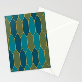 Moroccan Stained Glass Geometric Tile Pattern in Morocco Blue, Green, Teal, and Mustard Gold Stationery Cards