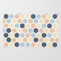 honeycomb Area & Throw Rugs featuring Honeycomb by 603 Creative Studio
