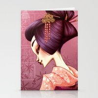 geisha Stationery Cards featuring Geisha by Christine Alcouffe