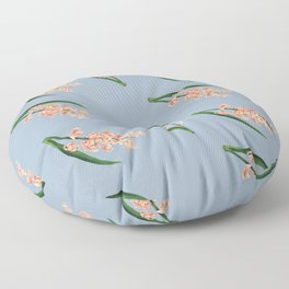 Peach Floral Toss in Pond Blue Floor Pillow
