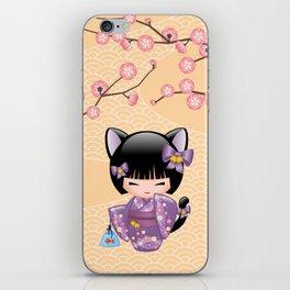 Japanese Neko Kokeshi Doll V2 iPhone Skin